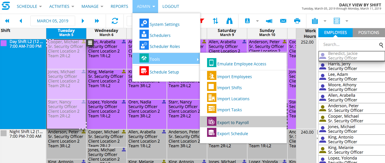 Export to Payroll is Now a Snap - Employee Scheduling Software